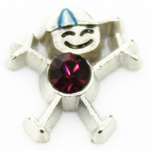 hot selling 10PCS little boys february  birthstone floating charms for glass floating lockets