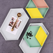 4PCS Nordic Color Geometric Storage Trays Desktop Combination plastic tray Fruit Plate Jewelry Display Tray Decor Home Organizer