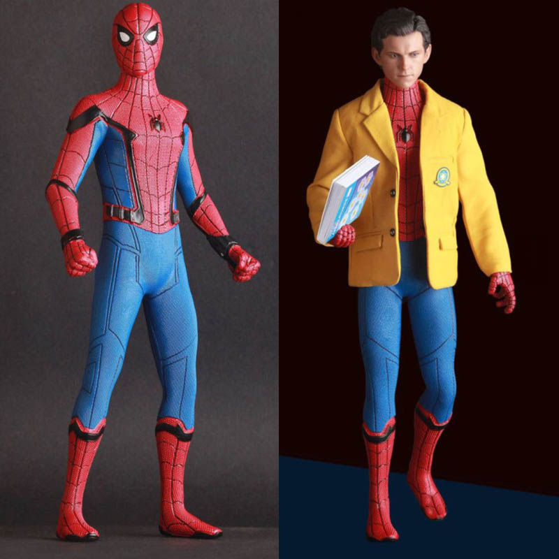 2 Sign Crazy Toys Marvel Avengers Spiderman Home Coming With Suit PVC Statue Figure Model Toys 2 Head 25cm