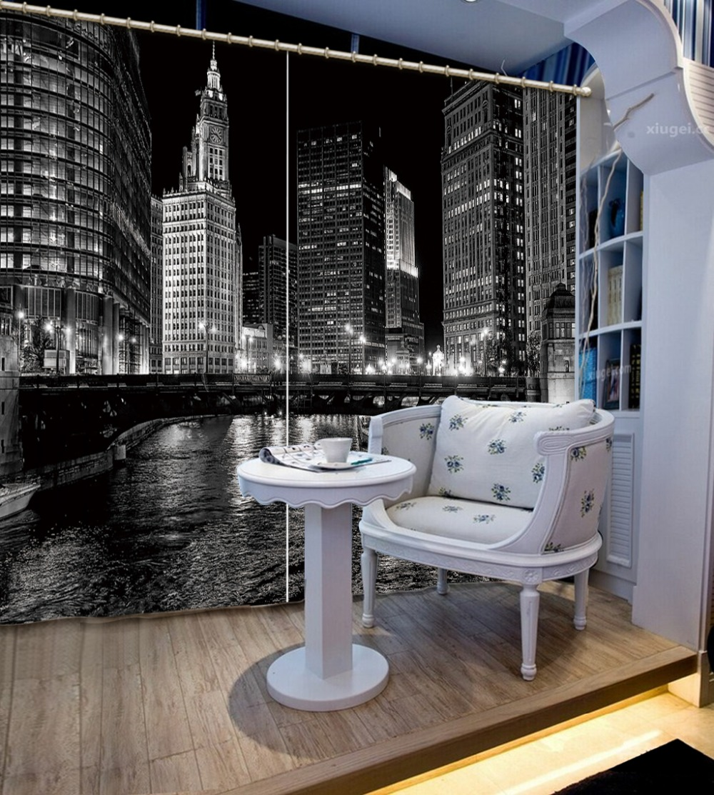 European style city night view curtains kids bedroom - Childrens bedroom blackout curtains ...