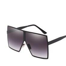 Square Sunglasses Men's Fashion Brand Retro Design Oversized Metal Frame Glasses Trend Gradient Lens UV400 стоимость