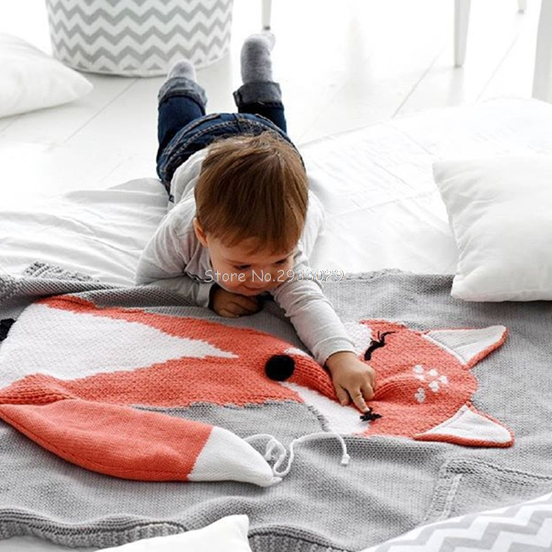 Kids Baby Fox Knitting Wool Air Condition Blanket Warm For Bed Sofa Wool blanket Cobertores Mantas BedSpread Bath Towels -B116