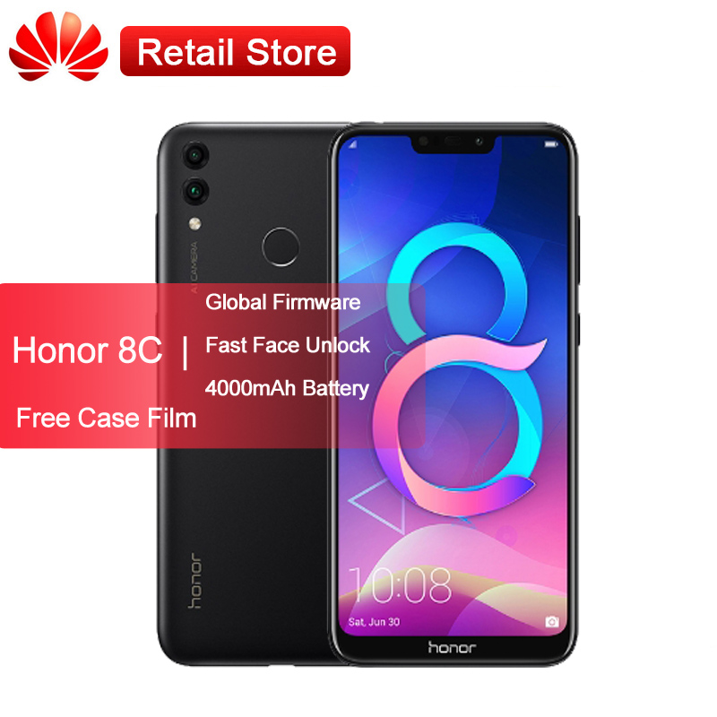 "Huawei Honor 8C Global Firmware Mobile Phone 4GB 6.26"" Snapdragon 632 Octa Core Android 8.1 4000mAh Dual Rear Camera Face ID"