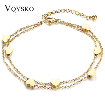 Fashion Heart Double layer Bracelet&Anklet For Women Adjustable Temperament Stainless Steel Chain Bracelets Jewelry Wholesale heyrock heavy sturdy double layer motorcycle chain bracelets cool biker men colorful painted titanium steel link bangles