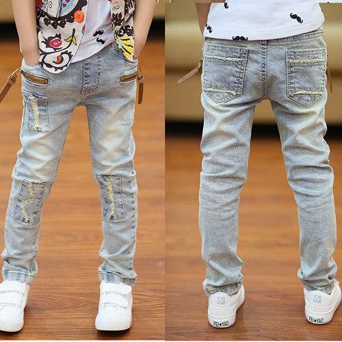 Дети джинсы весна и осень 2016 новых детская одежда мальчиков джинсы брюки Корейский диких стрейч джинсы