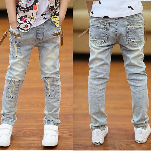 Pantalones vaqueros de los niños de primavera y otoño 2016 ropa de los nuevos niños pantalones vaqueros salvajes Coreanos jeans stretch