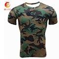 Camuflaje Impreso Slim Fit T Shirt Gimnasio Hombres Casual Corto manga Camiseta Del Verano Medias Hombres Fuerza Elástica de secado rápido ropa