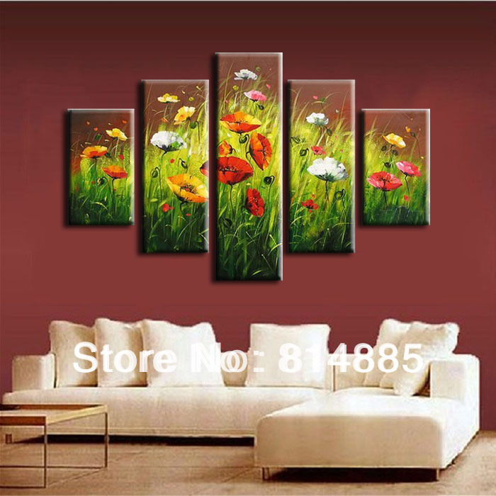 spring flower picture 5pcs real oversized handmade modern abstract oil painting on canvas wall art - Cheap Canvas Wall Art
