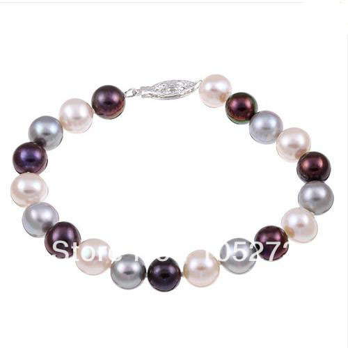 New Arriver White Gray Black Color Natural Freshwater Pearl Classic 7.5inch Bracelet 7-8mm Round Shaper Wedding Party JewelryNew Arriver White Gray Black Color Natural Freshwater Pearl Classic 7.5inch Bracelet 7-8mm Round Shaper Wedding Party Jewelry