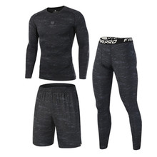 2018 New Compression Men's Sport Suits Quick Dry Running sets Clothes Sports Joggers Training Gym Fitness Tracksuits Running Set(China)