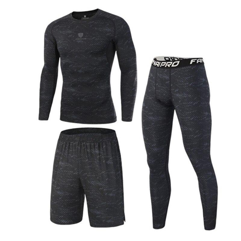 Nuevo de compresión de los hombres trajes de deporte de secado rápido corriendo conjuntos de ropa deporte entrenamiento gimnasio chándales corriendo conjunto