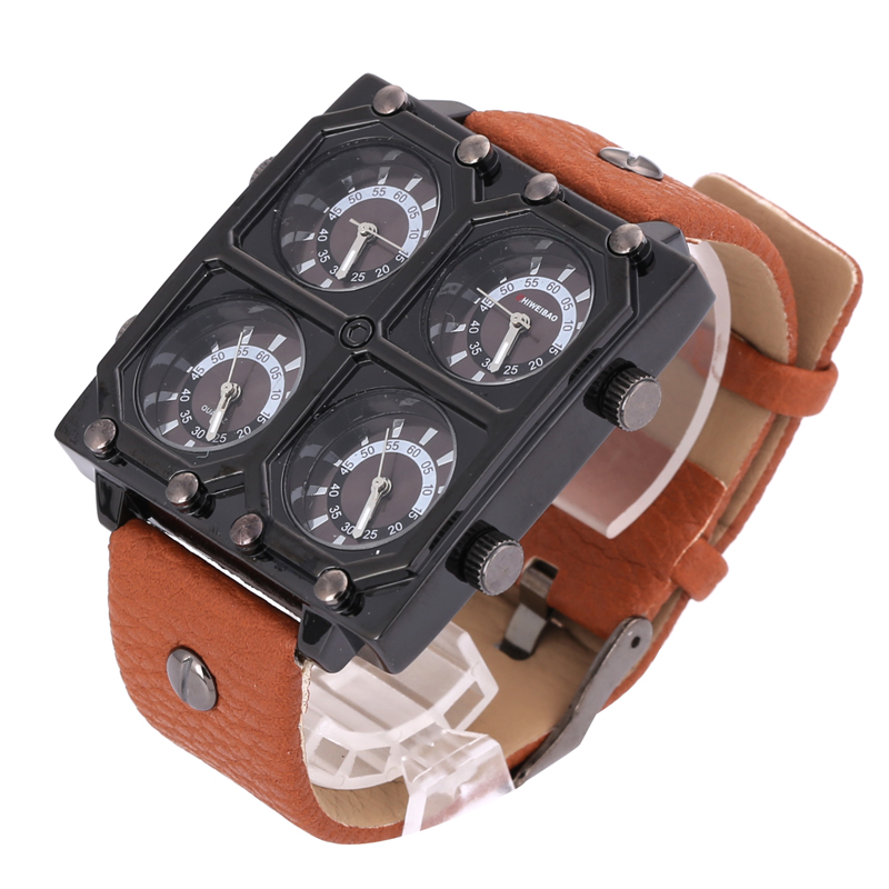 Cool Big Case Quartz Watch Men Luxury Mens Wrist Watches Four Time Zones Military Relogio Masculino Clock Male Sport Wristwatch