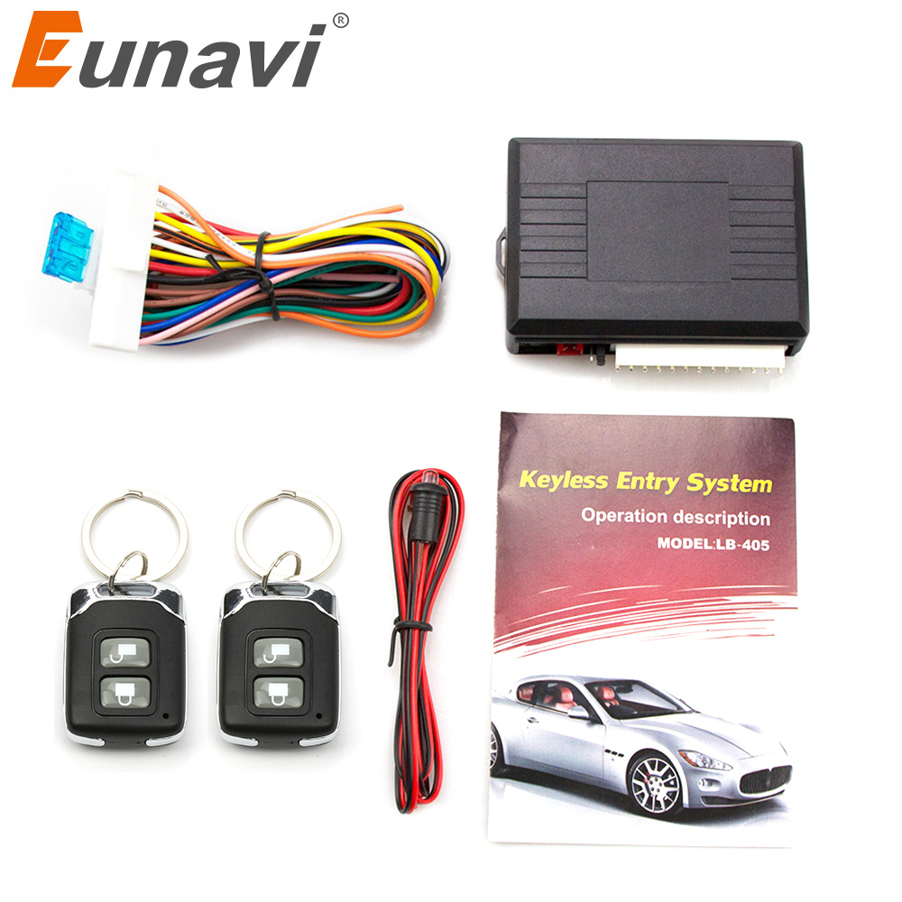 Eunavi Universal Automobile Car Remote Central Kit Lock UnlocK Keyless Entry System Power Central Locking With Remote Control