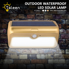 TSLEEN 24 37 46 LED Solar Power PIR Motion Sensor Wall Light Patio Lamp Super Bright 4 Color Waterproof Garden Street Fence Lamp
