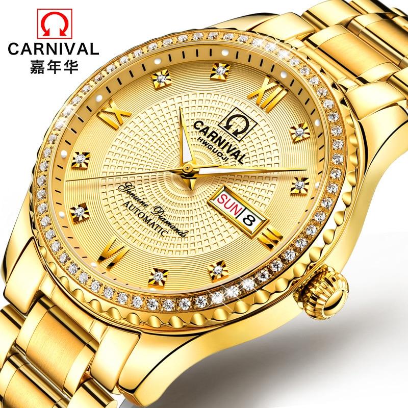 Hombres reloj superior de la marca de lujo de reloj de oro semana fecha luminoso impermeable reloj Ceasuri reloj de pulsera de hombres Hodinky reloj-in Relojes mecánicos from Relojes de pulsera    1