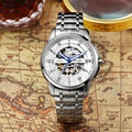 EFFORT Self-wind Automatic Men Top Luxury Brand Watches Stainless Steel Skeleton Dial Mens Clock Waterproof Relogio EF.3006M