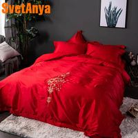 Svetanya Cotton wedding Bedding set double size red color Bed Linens jacquard embroidery Pattern
