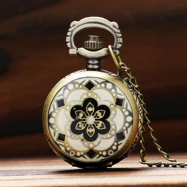 Vintage Flower Pattern Design Charm Small Cut Quartz Pocket Watch Women Lady Gir