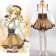 Athemis Puella Magi Madoka Magica Tomoe Mami Cosplay Costume Pleated Dress women dress hat gloves custom made Any size