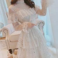 2019 Brand New Stars Sequins Mesh Dress Ruffles Stand Collar Layered Cake Dress Sweet Fairy Mesh Dress Midi Dress Vestidos