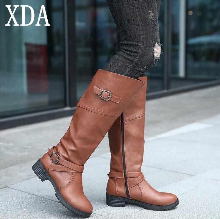 4fe747630 XDA зима Обувь на теплом меху сапоги до колена Женские ботфорты на низком  каблуке с боковой