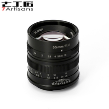 7artisans 55mm F1.4 Large Aperture Portrait Manual Focus Micro Camera Lens Fit for Canon eos-m Mount E Fuji Mount Free Shipping od30mm adjustable 1 20mm iris diaphragm maunal aperture for microscope camera lens adapter projection 12 blades free shipping