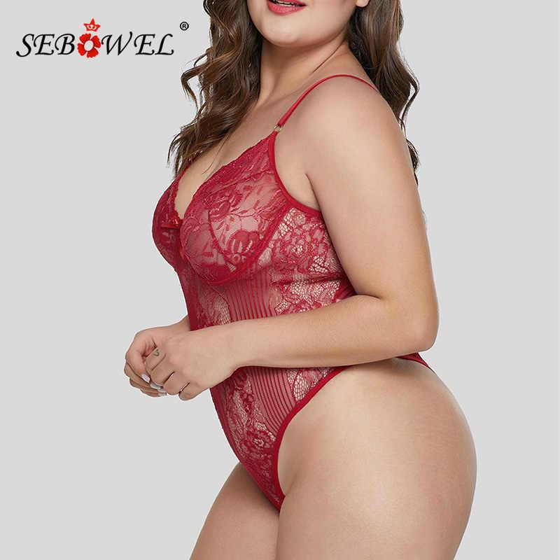 SEBOWEL сексуальный черный/белый кружевной прозрачный боди для женщин плюс размер без рукавов плюшевые Комбинезоны Боди Топы Femme боди XL-5XL
