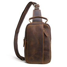 цены New 2019 Vintage Sling Chest Bag Men Crazy Horse Leather Messenger Bags Male Genuine Leather Crossbody Shoulder Bags Handbags