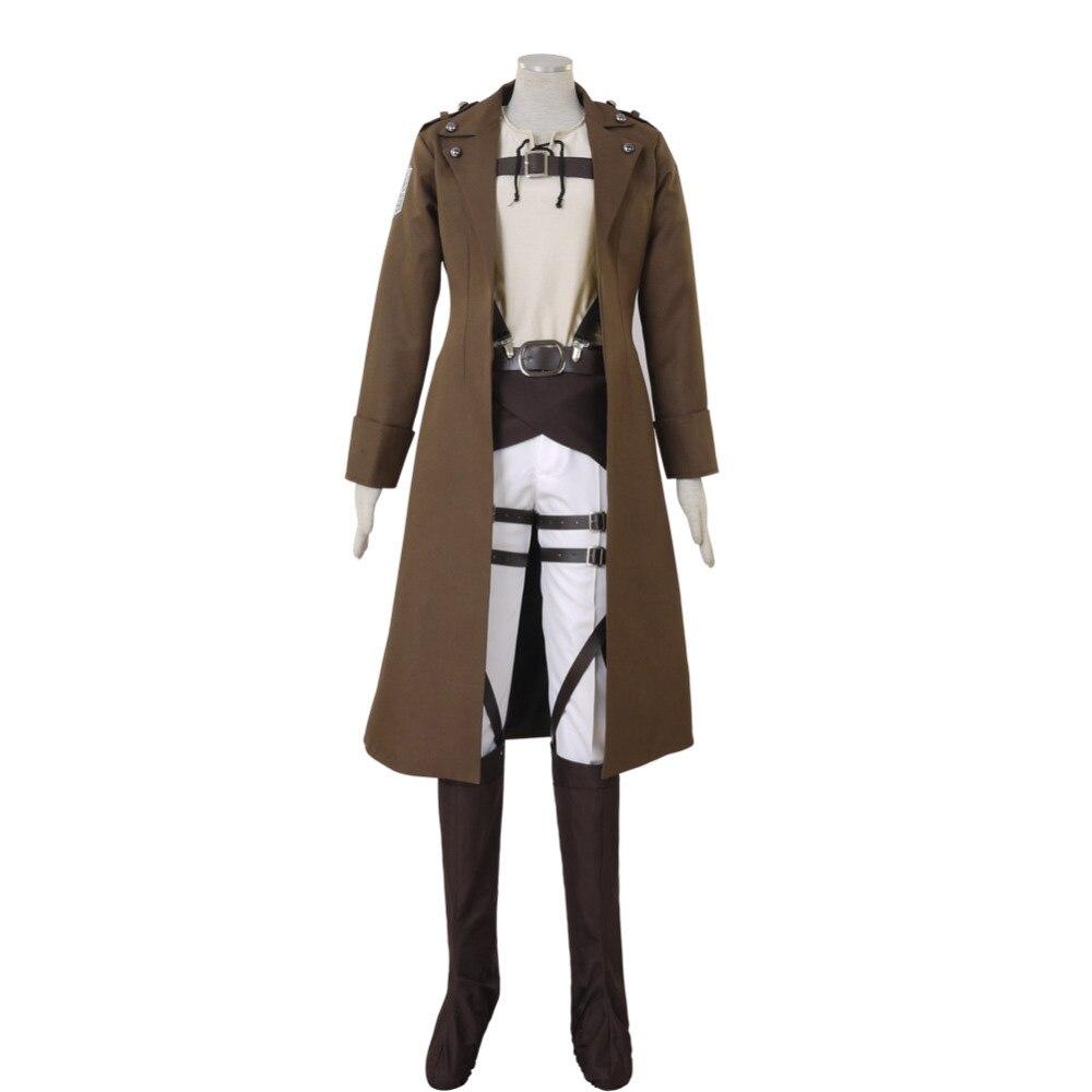 Attack on Titan Shingeki no Kyojin Eren Jaeger Cosplay Costume Long Coat Custom Made