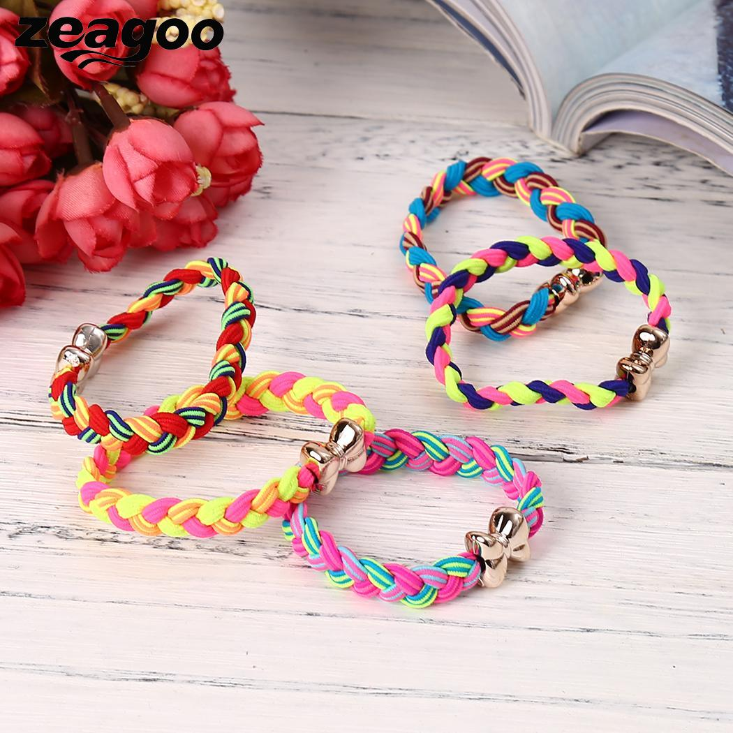 5pcs Braided Ponytail Holder Elastic Rope Hairband Hair Ties with Bow Colorful