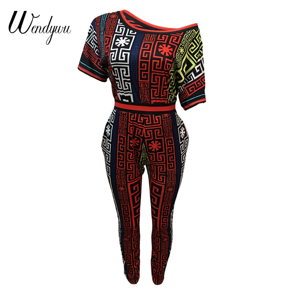 Wendywu 2018 Summer Dashiki Print Rompes Women African Vintage Bodycon Sexy Jumpsuit Casual Tracksuit WD20843