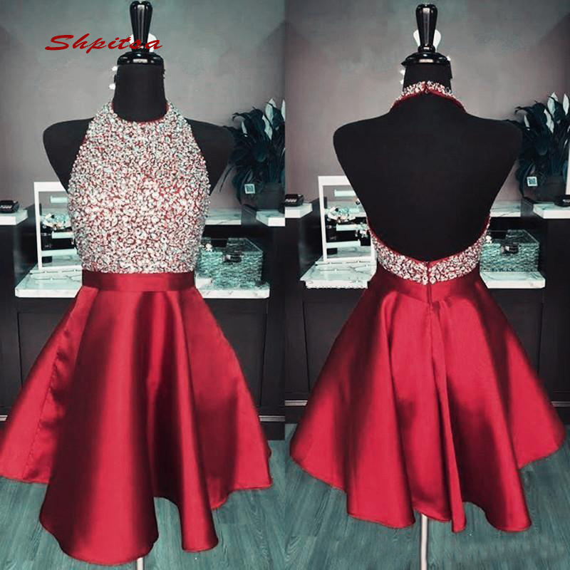 Short Red Cocktail Dresses Party Satin Sequin Graduation Women Prom Plus Size Coctail Mini Semi Formal Dresses