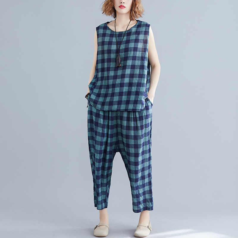 Johnature 2019 Summer Casual Cotton Linen Plaid New Large Size Comfortable Two Piece Set Sleeveless Tops Ankle-length Pants Sets