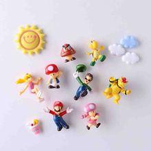 8/19pcs 2019 New Arrival 3D Super Mario Bros Fridge Magnets  Message Sticker Adult Man Girl Boy Children Toy Birthday Gift Luigi