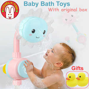 Детская игрушка для ванны, Детская ванная комната, игрушки для малышей, Ванна, Душ, присоска, спрей для купания, подарок новорожденным, резин...