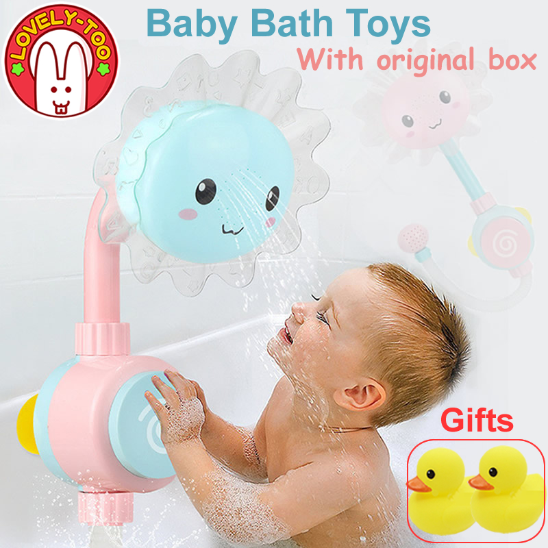 Baby Bath <font><b>Toy</b></font> Kids Bathroom Water Toddle <font><b>Toys</b></font> Bathtub Showers Suction Cup Spray For The Bathing <font><b>New</b></font> <font><b>Borns</b></font> Gift Rubber Duck image