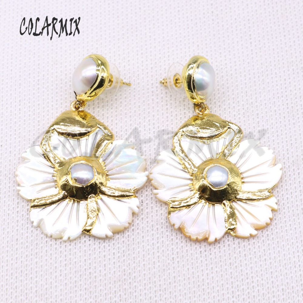 Wholesale jewelry earrings electroplate gold color Flower shape elegant earrings  wholesale jewelry gift for lady 4403 c6f633e94b6a