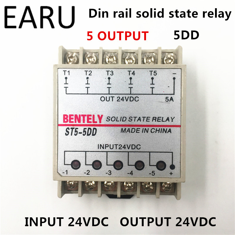 Free Shipping 5DD 5 Channel Din Rail SSR Quintuplicate Five Input Output 24VDC Single Phase DC Solid State Relay PLC Module Hot 20dd ssr control 3 32vdc output 5 220vdc single phase dc solid state relay 20a yhd2220d