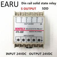 Free Shipping 5DD 5 Channel Din Rail SSR Quintuplicate Five Input Output 24VDC Single Phase DC