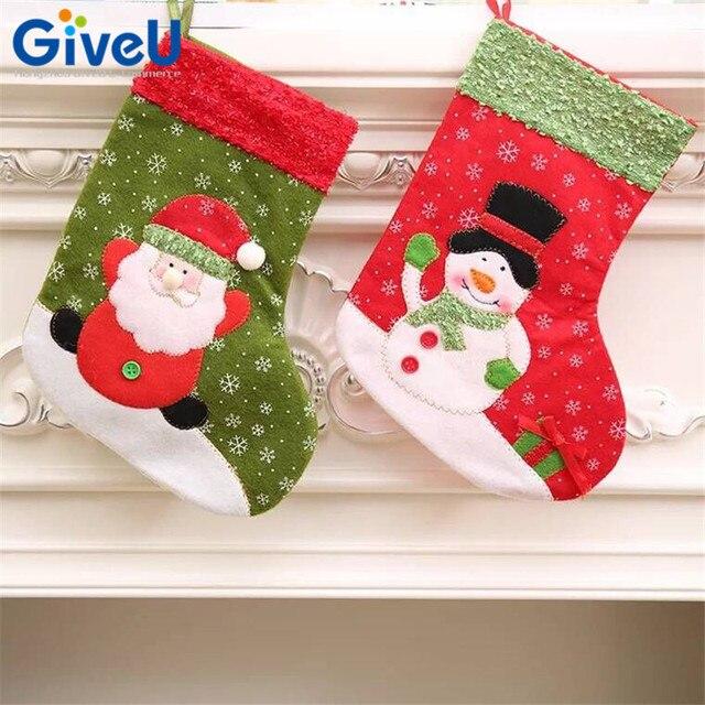 giveu 2pcsset christmas stockings socks santa claus candy gift bag xmas tree decor baby - Christmas Themed Baby Shower