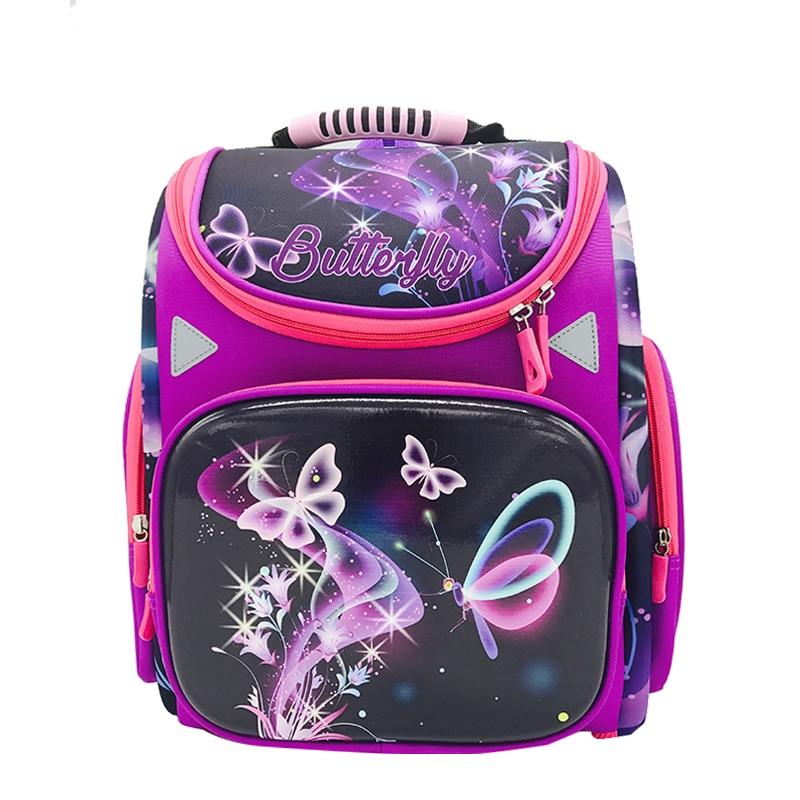 c33fda93cf66 Бренд для девочек школьная сумка основной Класс 1-5 детей бабочки школьные  сумки детей ортопедический
