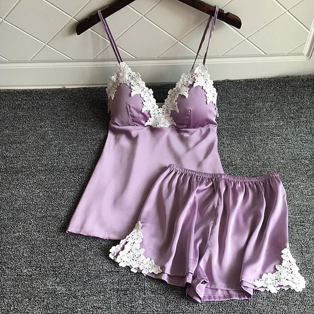 4d792ac0dcfe 2018 New Women s Sleepwear Sexy Satin Pajama Set purple fashion Lace V-Neck  Pyjamas Sleeveless Cute pajamas sets for women Short