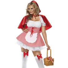 Plus Size S-6XL Women Little Red Riding Hood Fancy Dress Halloween Family Party Storybook Book Week Fantasia Costume