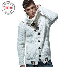 HTLB Brand Autumn Winter Fashion Casual Cardigan Sweater Coat Men Loose Fit 100% Acrylic Warm Knitting Clothes Sweater Coats Men