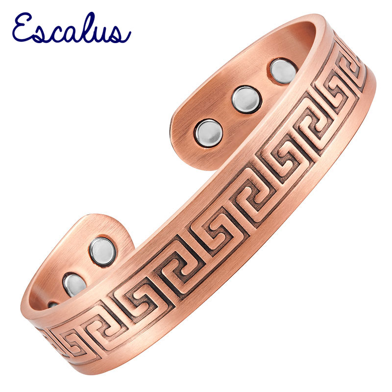 Escalus Vintage Antique Pure Copper Women New Bangle Jewelry Potente brazalete magnético para hombres Regalo Curación Pulsera con dijes