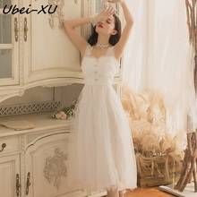 Ubei New Summer white braces dress women fairy long fashion lace sweet