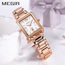ساعات نسائي من MEGIR ساعة سوار نسائي فاخرة باللون الذهبي الوردي لعشاق الموضة ساعة يد كوارتز للبنات ساعة يد Relogio Feminino 1079