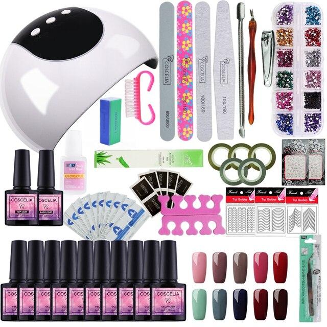 24w Lamp For Nail 10 Color Uv Gel Polish Kit Manicure Machine Art Tools Set