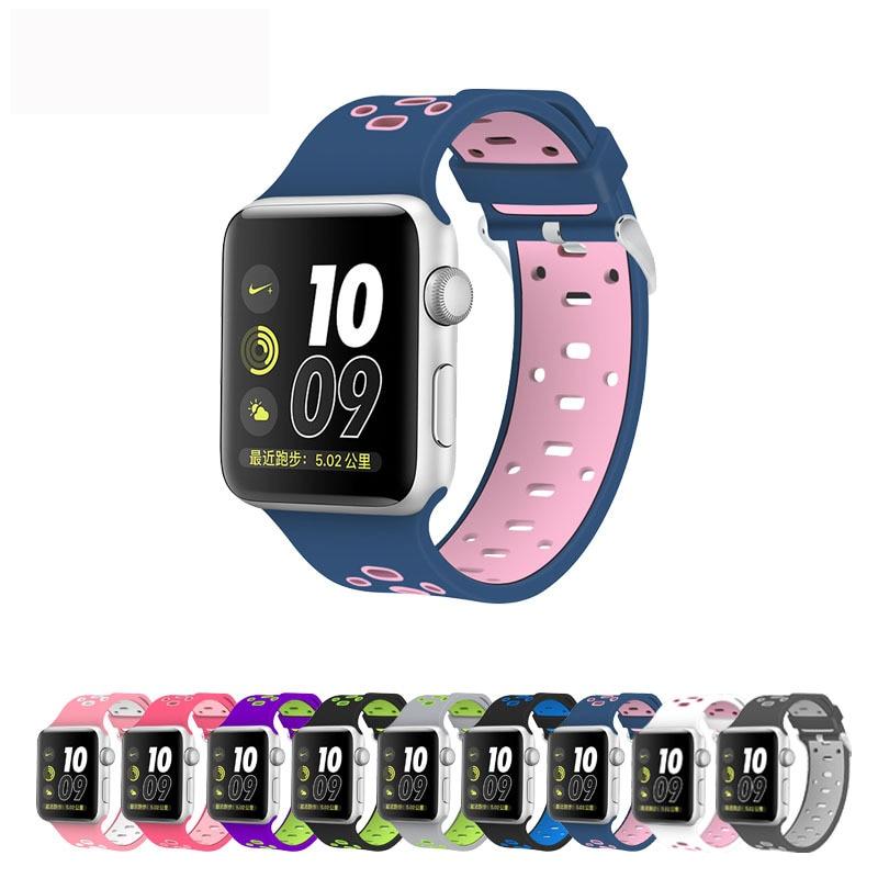 все цены на High quality Series 1&2&3 Bracelet strap for iwatch For Apple Watch band 42mm 38mm sport Silicone онлайн