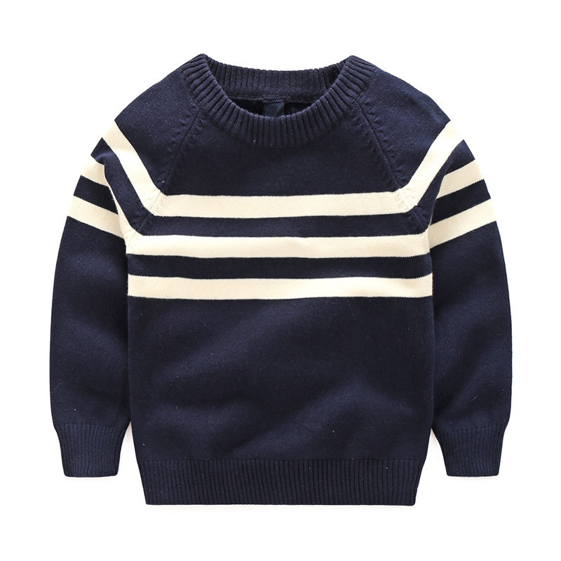 Child Sweatshirts Spring Autumn Boys Black White Striped Cotton Pullovers Handsome Long Sleeve Knitting Kids T-shirts Clothing